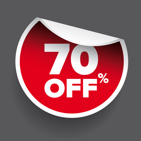 70: red vector 70% discount price sign