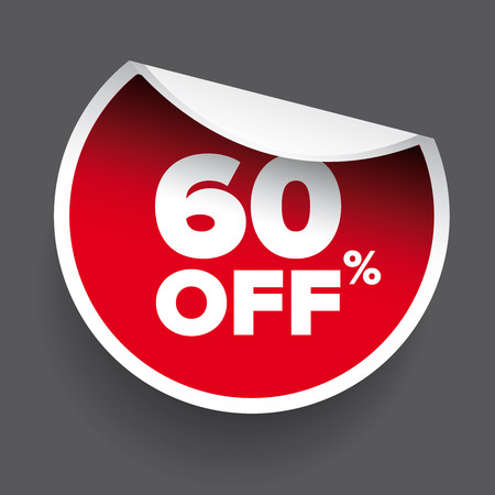 60: red vector 60% discount price sign Illustration