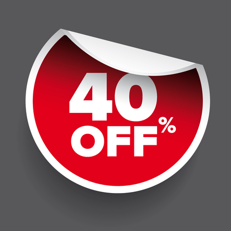 40: red vector 40% discount price sign