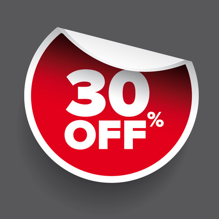 the 30: red vector 30% discount price sign