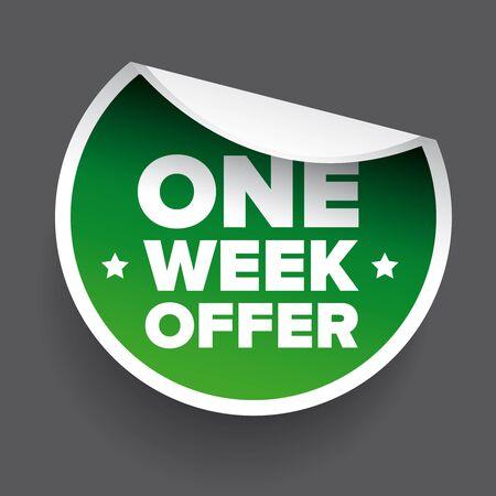 week: One Week Offer label green vector