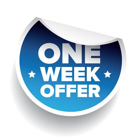 week: One Week Offer label blue vector