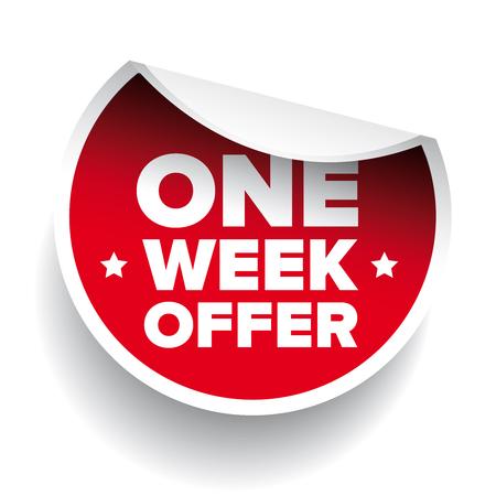 week: One Week Offer label red vector