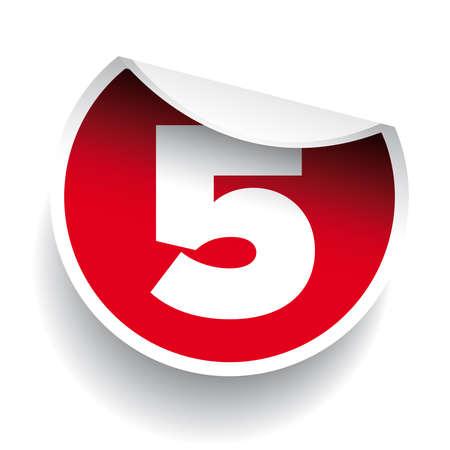 number five: Number five sticker vector label red