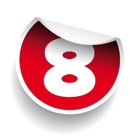 number eight: Number eight sticker vector label red