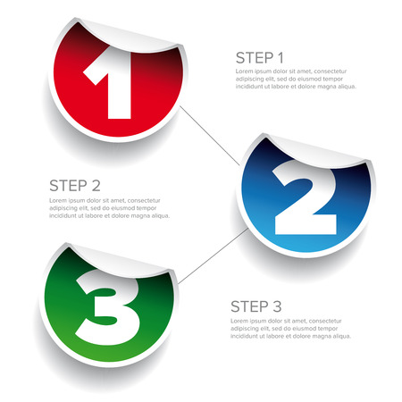 progress steps: One two three - progress steps vector sticker