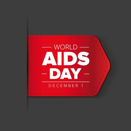 hiv awareness: World AIDS Day - December 1 red ribbon