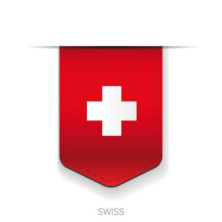 스위스 국기 벡터 리본 일러스트