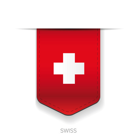Swiss flag vector ribbon