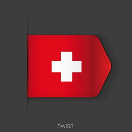 swiss: Swiss flag vector ribbon