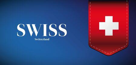 swiss flag: Swiss flag vector ribbon