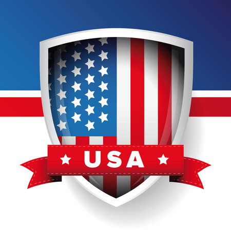 USA flag shield and ribbon vector