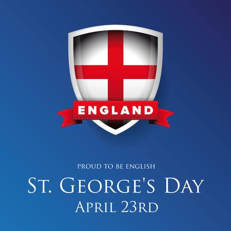 세인트 조지 하루 영국 플래그 방패 배너 또는 포스터 일러스트