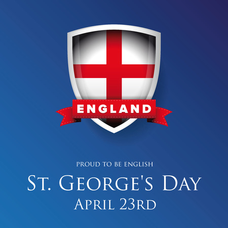 george: St George Day England flag shield banner or poster