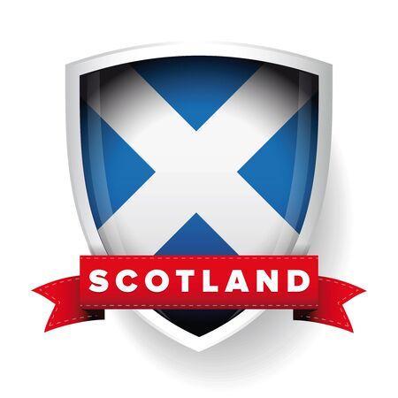 retro wallpaper: Scotland flag shield Illustration