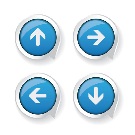 left right: Left Right Up Down arrows blue buttons