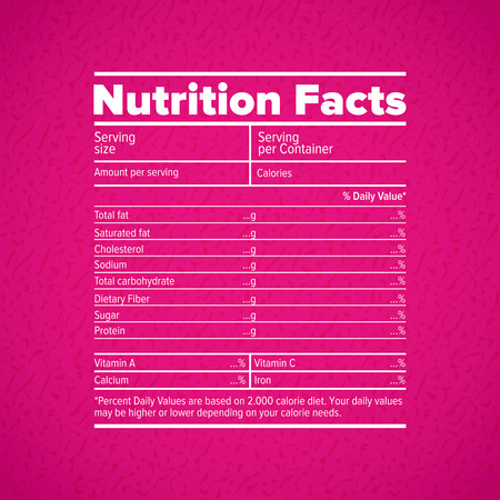 grams: Nutrition facts lettering