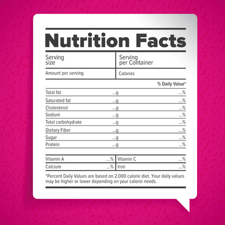 nutrition label: Nutrition facts label lettering
