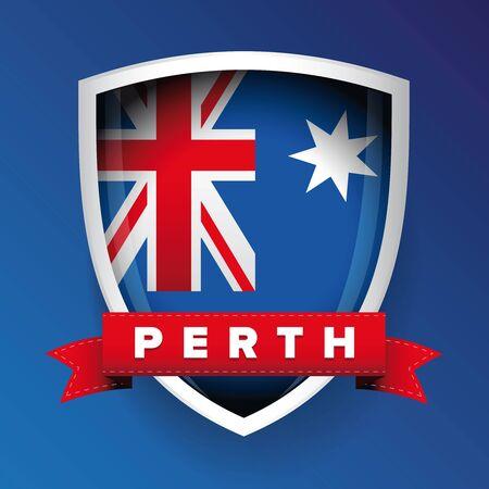 Perth and Australia flag shield Ilustração