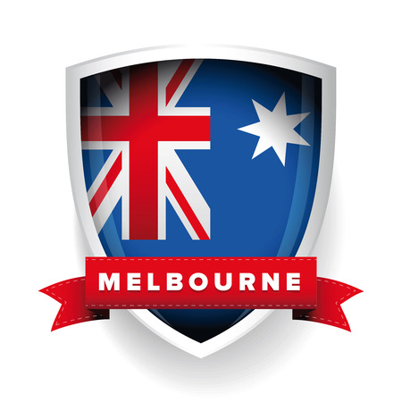 aussie: Melbourne and Australia flag shield Illustration