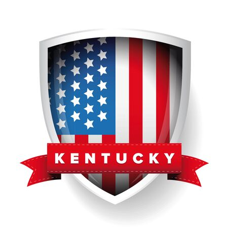 kentucky: Kentucky and USA flag vector Illustration
