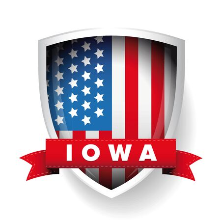 congresses: Iowa and USA flag vector