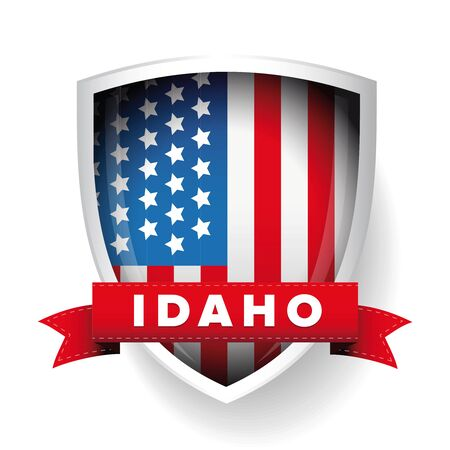 idaho: Idaho and USA flag vector Illustration
