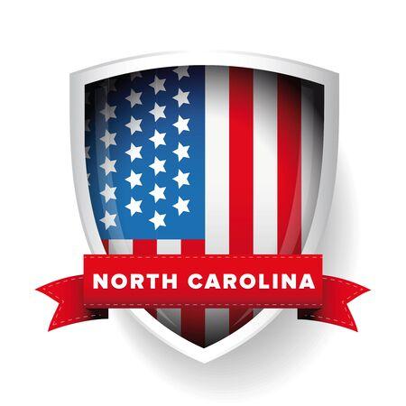 north carolina: North Carolina and USA flag vector