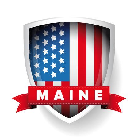 maine: Maine and USA flag vector