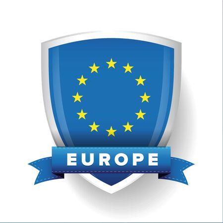 proportional: EU flag shield vector Illustration