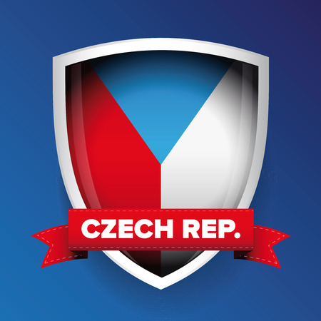 czech republic flag: Czech republic flag shield Illustration