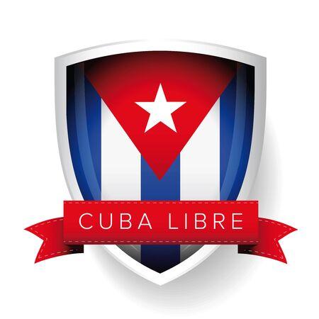 flag of cuba: Cuba libre flag vector shield