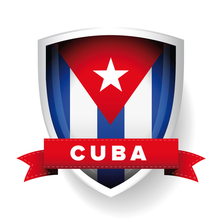 bandera de cuba: Cuba escudo de la bandera del vector Vectores