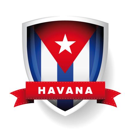 cuba flag: Havana and Cuba flag vector shield
