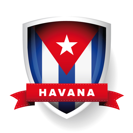 havana cuba: Havana and Cuba flag vector shield