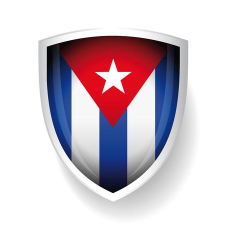 havana cuba: Cuba flag vector shield