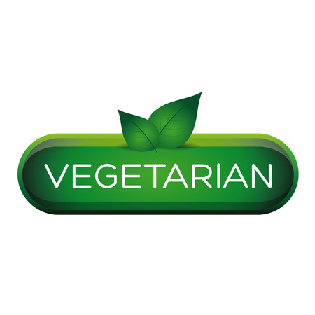 vegetarians: Green vegetarian button with leafs