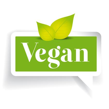 vegan: Vegan label vector green with leaf Illustration