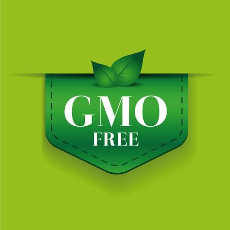 gmo: GMO free ribbon vector green