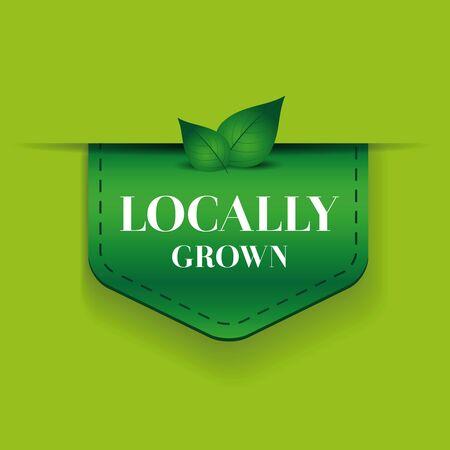 handmade soap: Locally grown ribbon vector green Illustration
