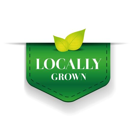 inspected: Locally grown ribbon vector green Illustration