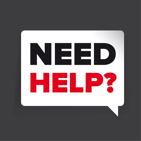 need help: Need help? Vector label - speech bubble