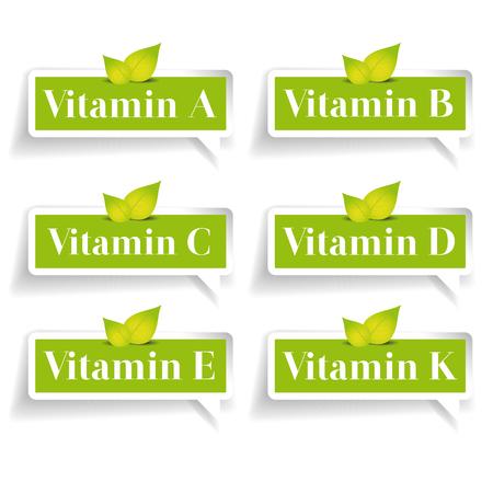 ascorbic: Vitamins label set vector