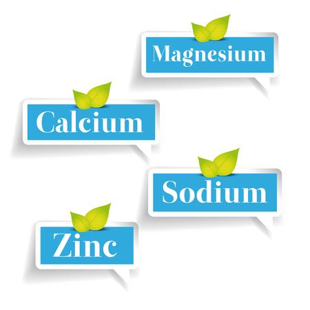 magnesium: Minerals Magnesium, Calcium, Sodium, Zinc label Illustration