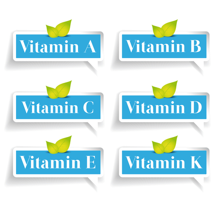 ascorbic: Vitamins label set vector