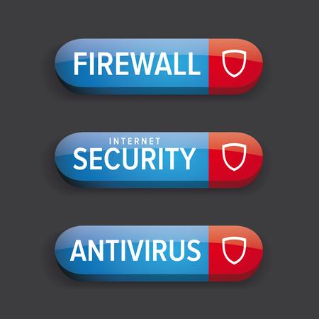 antivirus: Antivirus button vector blue Illustration