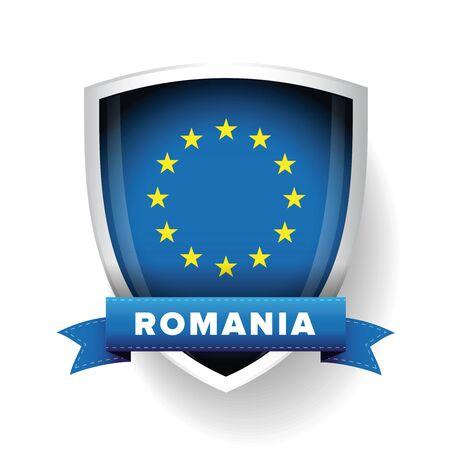 eu: Romania - EU member flag vector shield