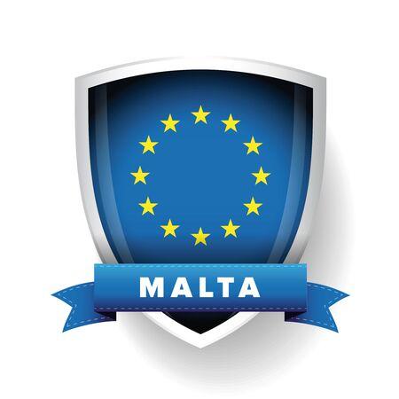 Malta - EU member flag vector shield Illustration
