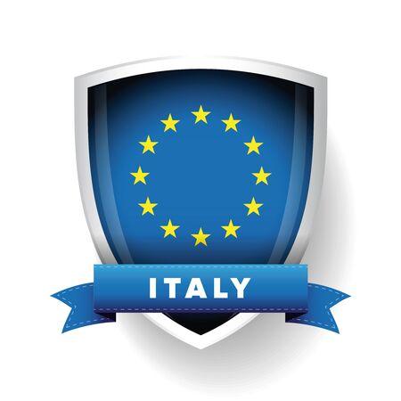 eu: Italy - EU member flag vector shield