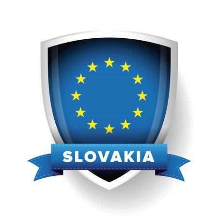 slovakia: Slovakia - EU member flag vector shield
